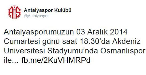Antalyaspor'a Sosyal Medyada Eleştiri