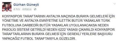 Gürhan Güneyli - Konyaspor Açıklama